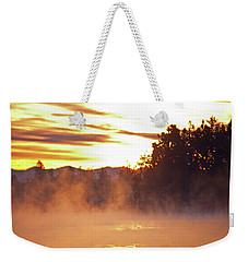 Weekender Tote Bag featuring the photograph Misty Sunrise by Tikvah's Hope