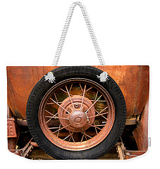Weekender Tote Bag featuring the photograph Model A  Oklahoma Spare by Ann Powell
