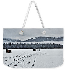 Weekender Tote Bag featuring the photograph Montana Ice Fishing by Janie Johnson