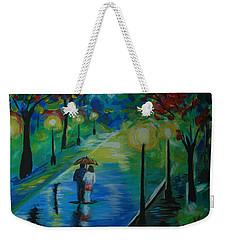 Weekender Tote Bag featuring the painting Moonlight Stroll Series 1 by Leslie Allen