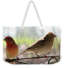 Weekender Tote Bag featuring the photograph Morning Visitors 2 by Rory Sagner