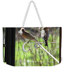 Weekender Tote Bag featuring the photograph Morning Visitors by Rory Sagner