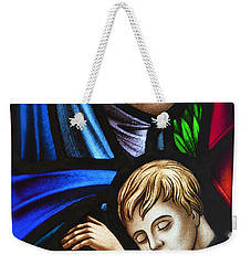 Mother And Child Stained Glass Weekender Tote Bag by Verena Matthew
