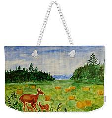 Weekender Tote Bag featuring the painting Mother Deer And Kids by Sonali Gangane