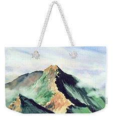 Weekender Tote Bag featuring the painting Mountain  1 by Yoshiko Mishina