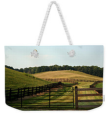 Weekender Tote Bag featuring the photograph Mountain Farmland by Karen Harrison