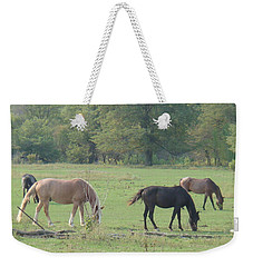 Weekender Tote Bag featuring the photograph Mowing The Lawn by Bonfire Photography