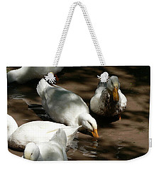 Weekender Tote Bag featuring the photograph Muddy Ducks by Laurel Best