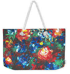 Weekender Tote Bag featuring the painting My Sister's Garden II by Alys Caviness-Gober