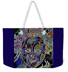 Weekender Tote Bag featuring the drawing Mythic Mask by Nareeta Martin
