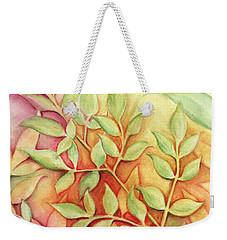 Nandina Leaves Weekender Tote Bag by Carla Parris