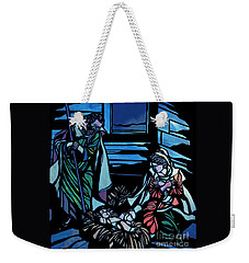 Nativity Stained Glass Weekender Tote Bag by Methune Hively