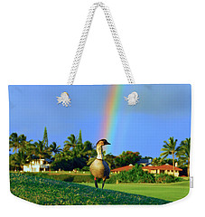 Weekender Tote Bag featuring the photograph Nene At The End Of The Rainbow by Lynn Bauer