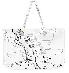 Weekender Tote Bag featuring the drawing Ngwale Dance - Botswana by Gloria Ssali