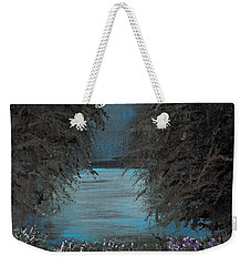 Weekender Tote Bag featuring the painting Night In The Bayou by Alys Caviness-Gober