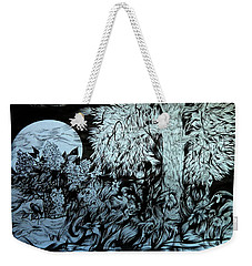 Weekender Tote Bag featuring the drawing Nightingale Night by Anna  Duyunova