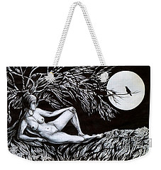 Weekender Tote Bag featuring the drawing Nightingale Song. Part One by Anna  Duyunova