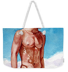 Nude Male Blonde In Blue Speedo Weekender Tote Bag