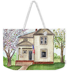 Weekender Tote Bag featuring the painting Ohio Cottage With Flag by Clara Sue Beym