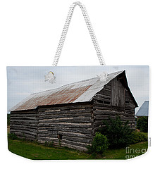 Weekender Tote Bag featuring the photograph Old Log Building by Barbara McMahon