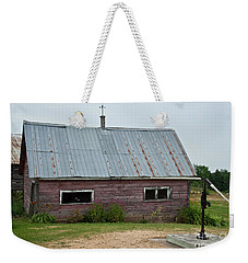 Weekender Tote Bag featuring the photograph Old Wood Shed  by Barbara McMahon