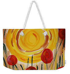 Weekender Tote Bag featuring the painting On A Sunny Island by Mary Carol Williams