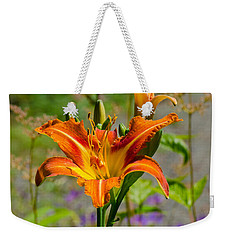 Weekender Tote Bag featuring the photograph Orange Day Lily by Tikvah's Hope