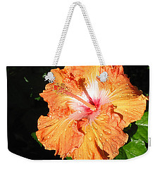Orange Hibiscus After The Rain 1 Weekender Tote Bag by Connie Fox