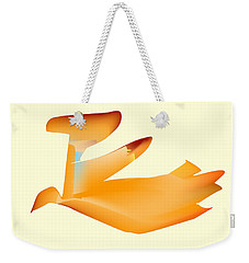 Weekender Tote Bag featuring the digital art Orange Jetpack Penguin by Kevin McLaughlin
