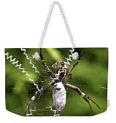 Weekender Tote Bag featuring the photograph Orb Weaver by Joy Watson