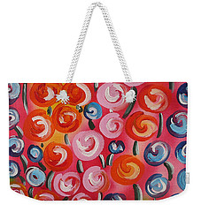 Original Modern Impasto Flowers Painting  Weekender Tote Bag
