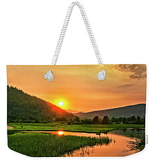 Pack River Delta Sunset Weekender Tote Bag by Albert Seger