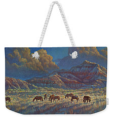 Weekender Tote Bag featuring the painting Painted Desert Painted Horses by Rob Corsetti