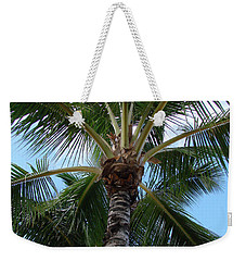 Weekender Tote Bag featuring the photograph Palm Tree Umbrella by Athena Mckinzie