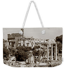Weekender Tote Bag featuring the photograph Panoramic View Via Sacra Rome by Tom Wurl