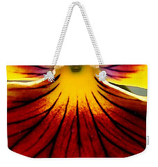 Weekender Tote Bag featuring the photograph Pansy Named Imperial Gold Princess by J McCombie