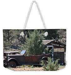 Weekender Tote Bag featuring the photograph Parked At The Trading Post by Athena Mckinzie