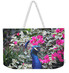 Weekender Tote Bag featuring the photograph Peacock And Bouganvillas by Donna Smith