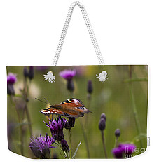 Peacock Butterfly On Knapweed Weekender Tote Bag by Clare Bambers
