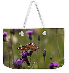 Peacock Butterfly On Knapweed Weekender Tote Bag