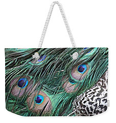 Weekender Tote Bag featuring the photograph Peacock Feathers by Donna  Smith