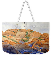 Weekender Tote Bag featuring the painting Peggy's Cove by Laurel Best