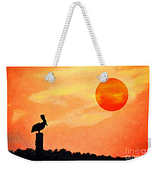 Weekender Tote Bag featuring the photograph Pelican During Hot Day by Dan Friend