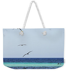 Pelicans In Flight Over Turquoise Blue Water.  Weekender Tote Bag