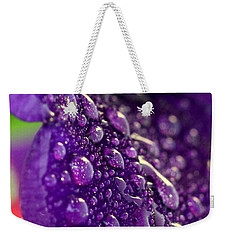 Weekender Tote Bag featuring the photograph Petunia Raindrops by Suzanne Stout