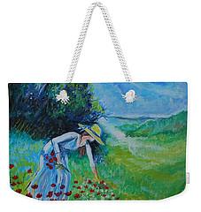Weekender Tote Bag featuring the painting Picking Flowers by Leslie Allen