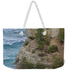Weekender Tote Bag featuring the photograph Pictured Rocks In Oil by Deniece Platt