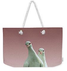 Weekender Tote Bag featuring the photograph Pigeons In The Pink by Linsey Williams