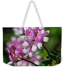 Pink And White Weekender Tote Bag by Cindy Manero