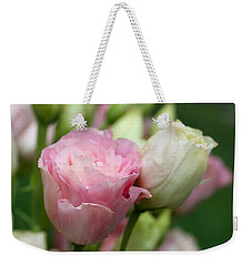 Pink And White Lisianthus Weekender Tote Bag